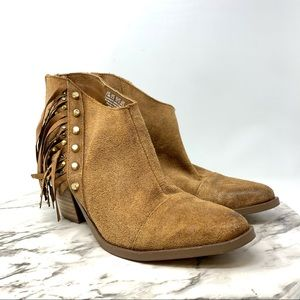 Fergie Bennie suede fringe booties brown boho 7.5